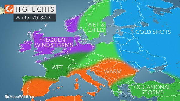 Prognoza Accuweather za zimu 2018./2019., izvor: Accuweather